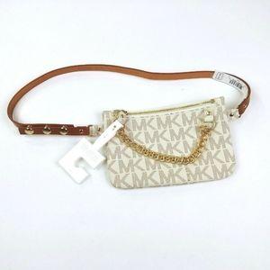 Michael Kors Logo Vanilla White Fanny Pack Belt